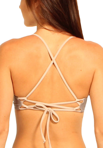 Paradiso Top in Graphite and Nude - Back | Cheeks Swimwear | Kallone Intimi