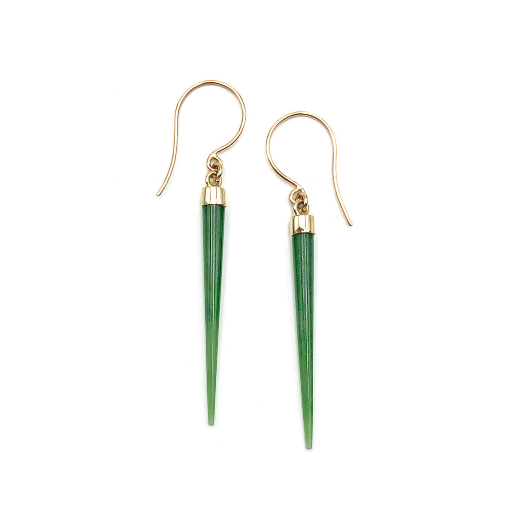 14 carat Gold Pounamu Icicle Earrings