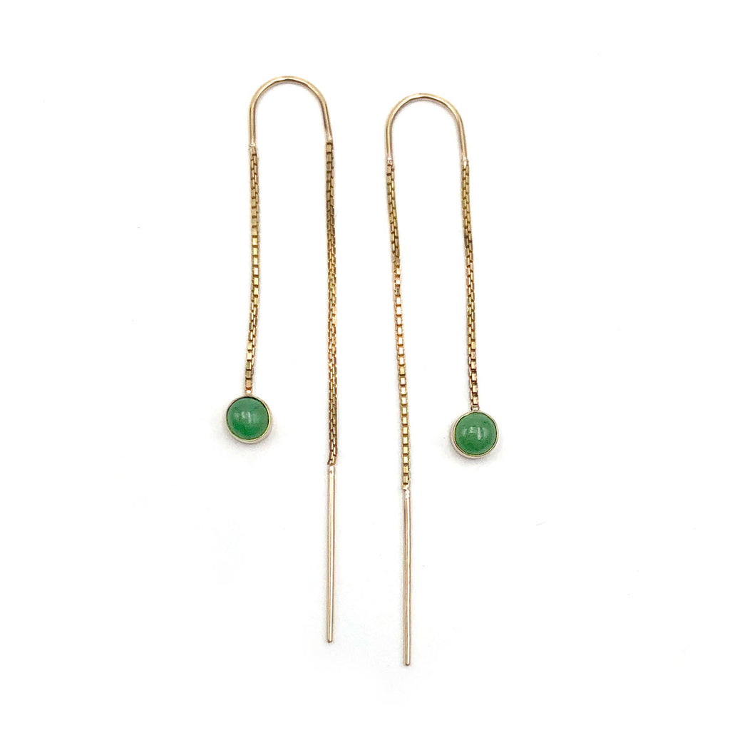 14 carat Gold Pounamu Dot Chain Earrings