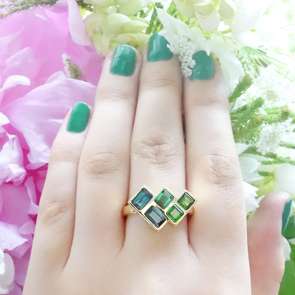 Blue Tourmaline and Siberian Emerald Angled Mosaic ring set in 9 carat Yellow Gold