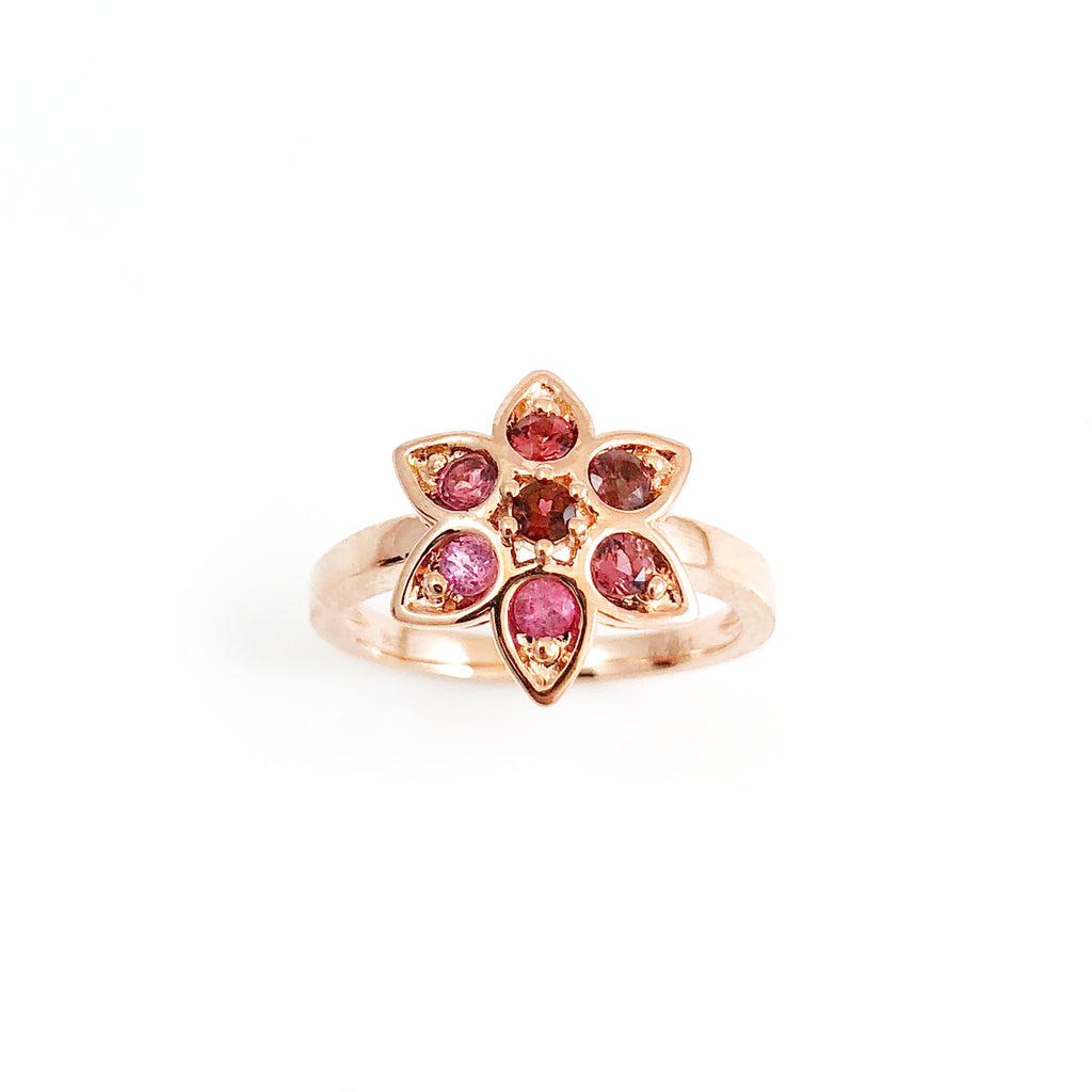93fa105443ad2 Berry Pink Tourmaline Star Tulip ring in 9 carat Rose Gold