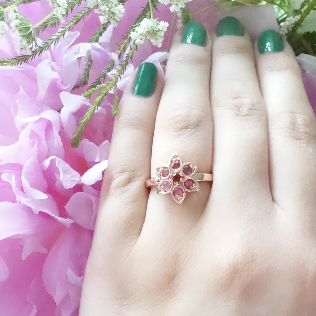 Berry Pink Tourmaline Star Tulip ring in 9 carat Rose Gold