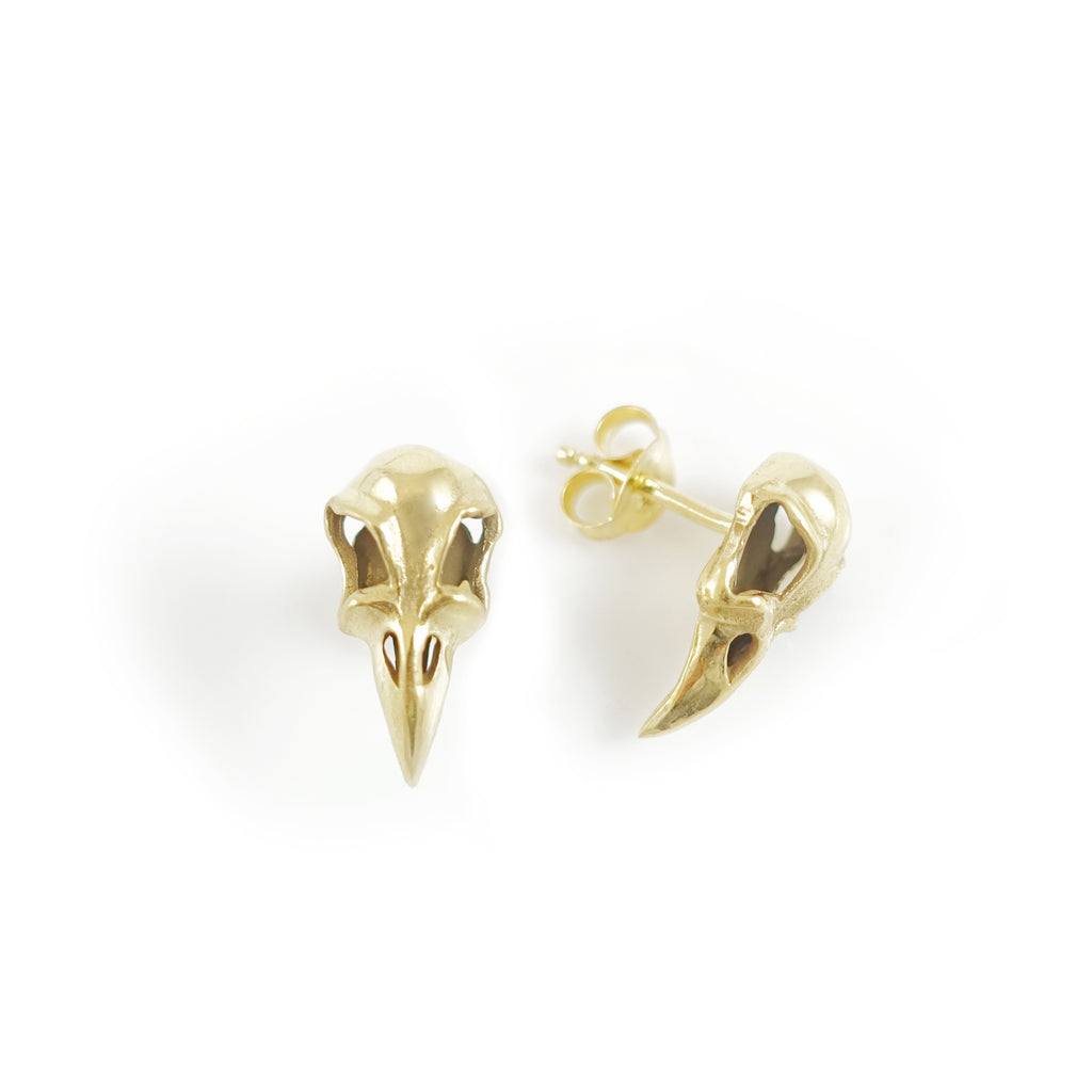 Gold Dipped Raven Skull stud earrings