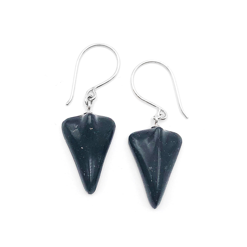 Black Pounamu Jet Plane Earrings
