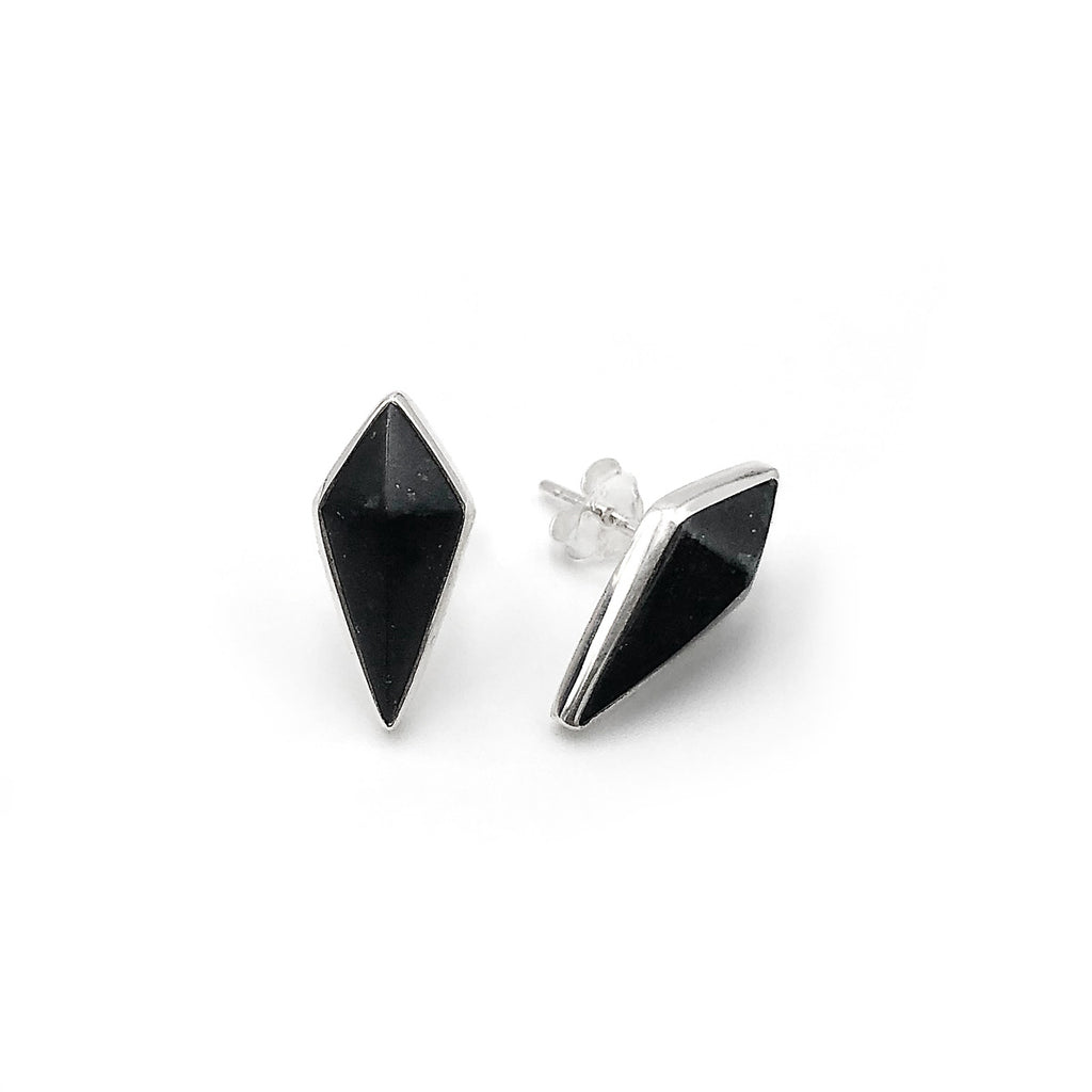 Black Pounamu Pinnacle Studs