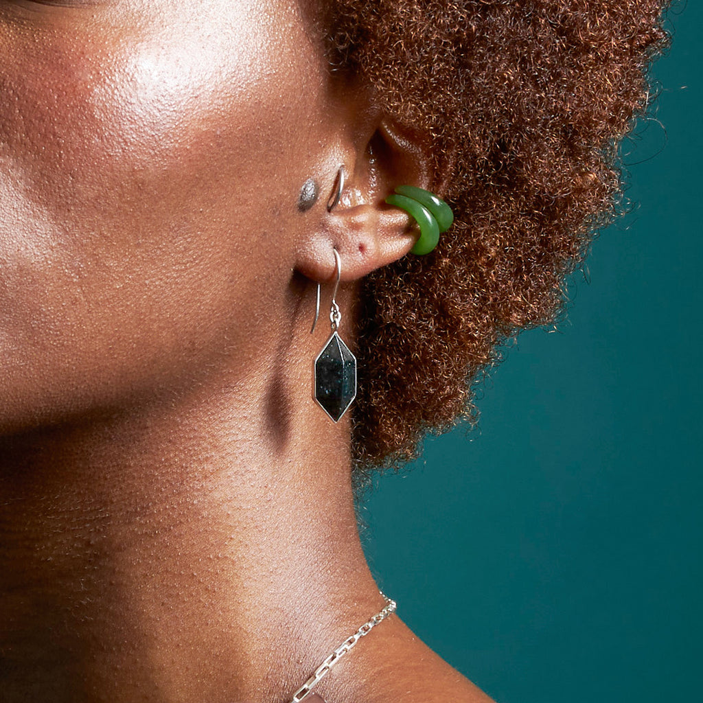 Black Pounamu Prism Earrings