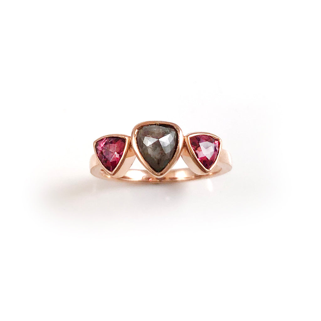 Black Diamond and Red Spinel Triple Trillion ring in 9 carat Rose Gold