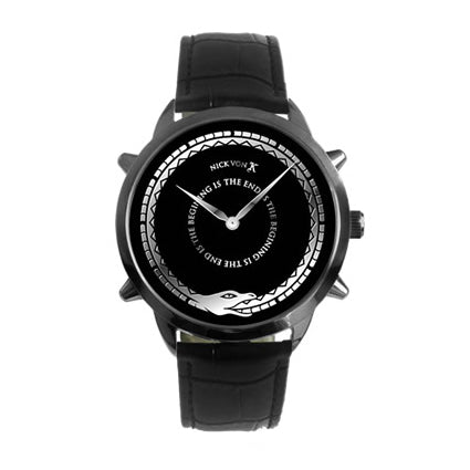 """The End Is The Beginning"" Black Steel Watch with Spikes"