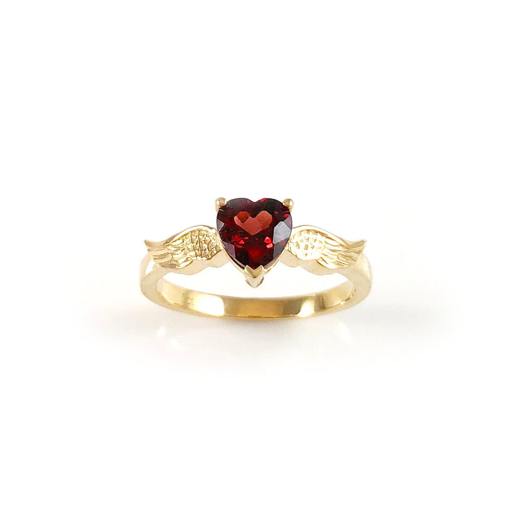 Blood Red Heart with Golden Angel Wings ring in 9 carat Yellow Gold