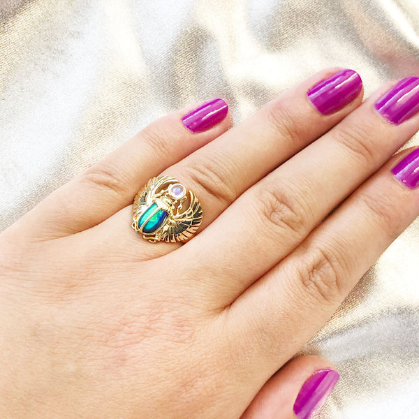 Egyptian Scarab Beetle Ring with Blue/Green Opal and Rainbow Moonstone in 9 carat Yellow Gold