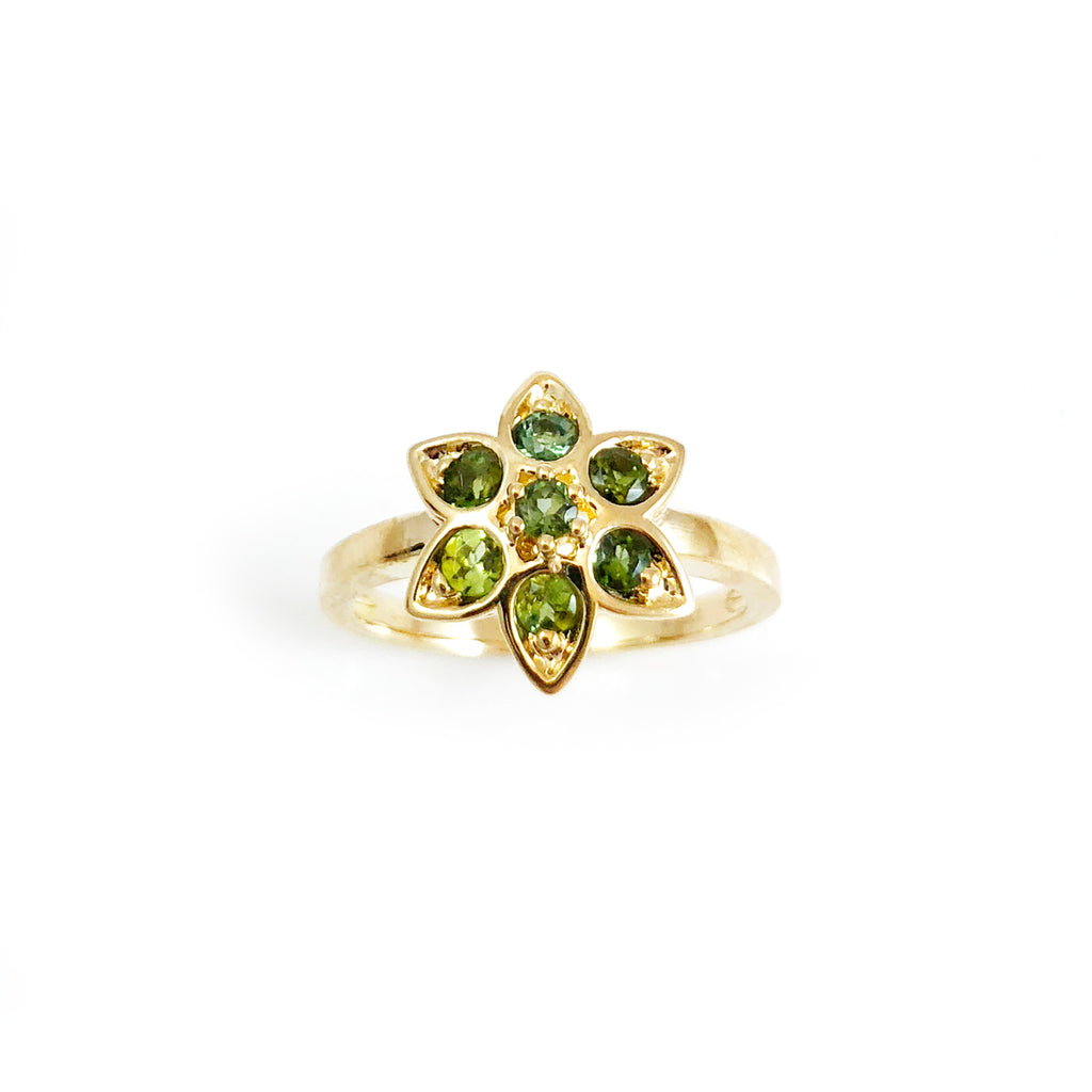 Blue and Green Tourmaline Star Tulip ring in 9 carat Yellow Gold