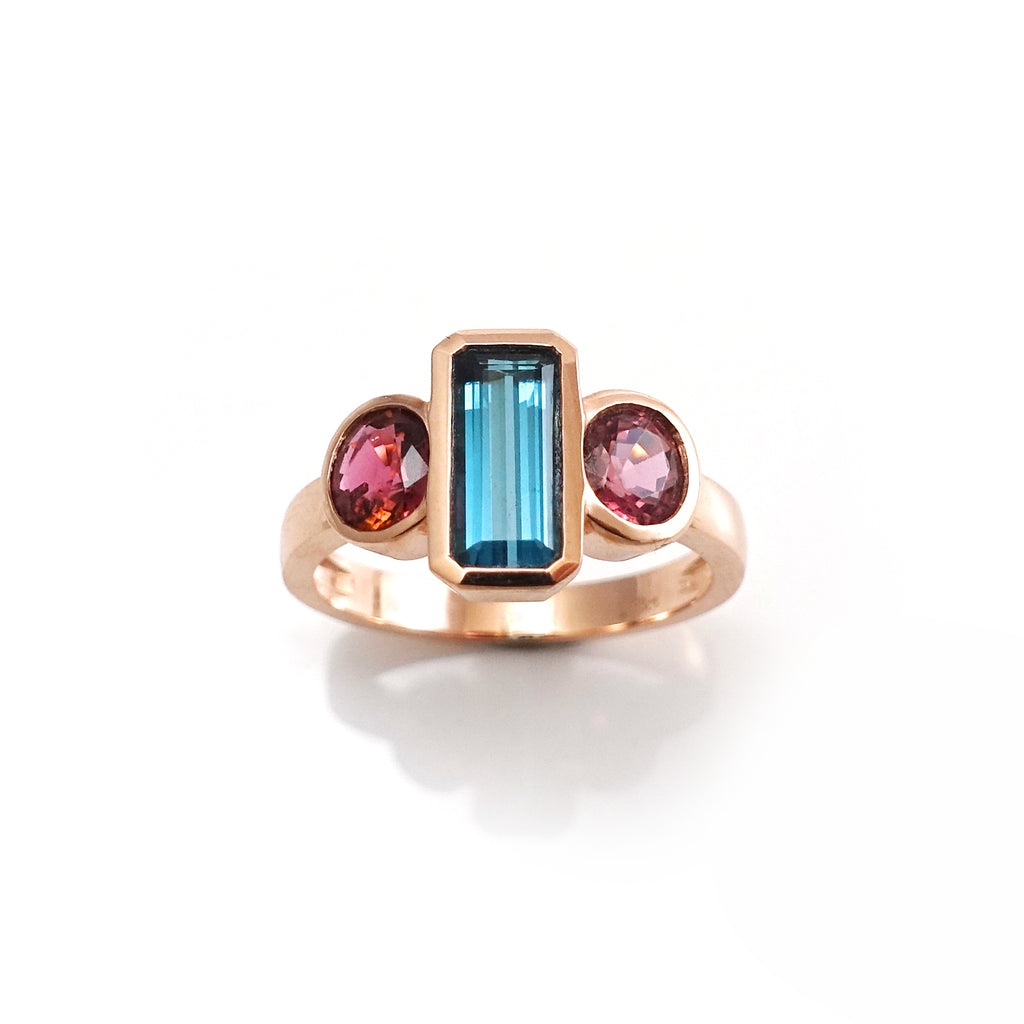 Red and Blue Tourmaline Deco ring