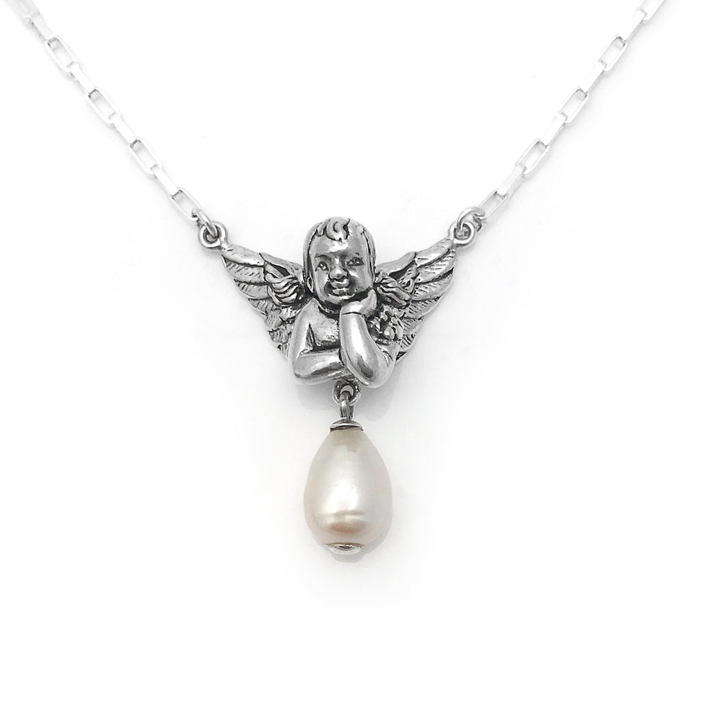 Cherub Pearl Pendant with White Baroque Pearl