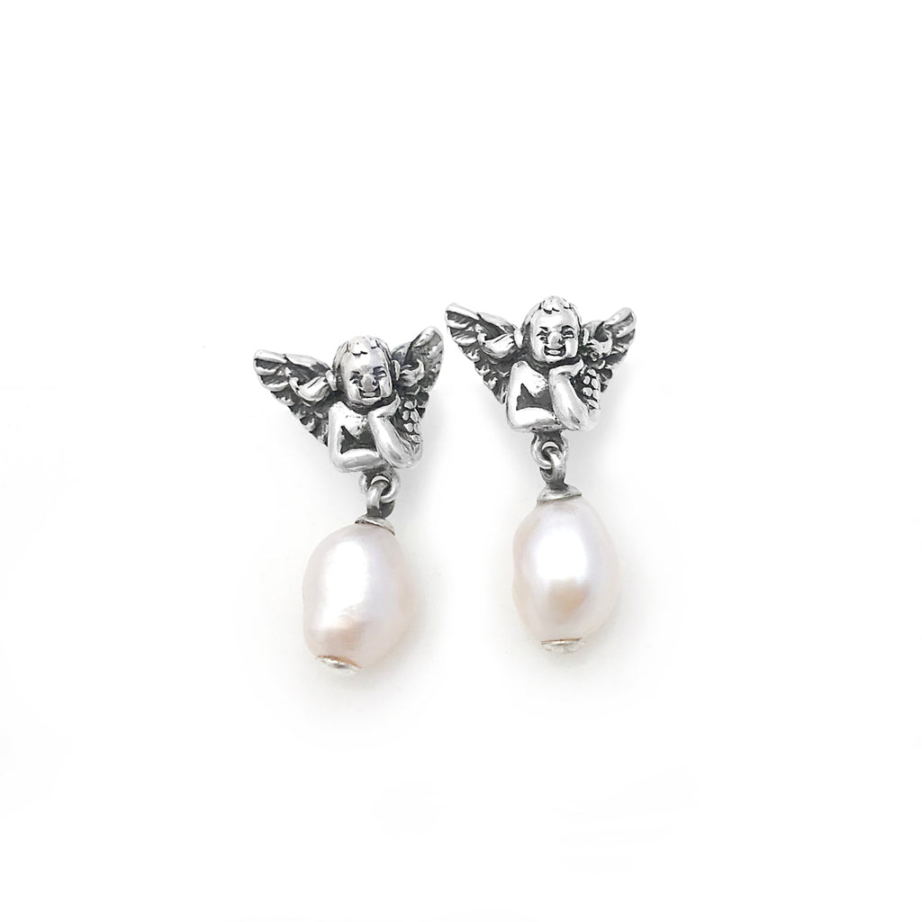 Cherub Pearl Earrings with White Baroque Pearls