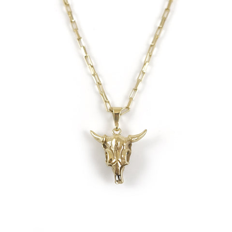 Gold Dipped Cow Skull Charm pendant