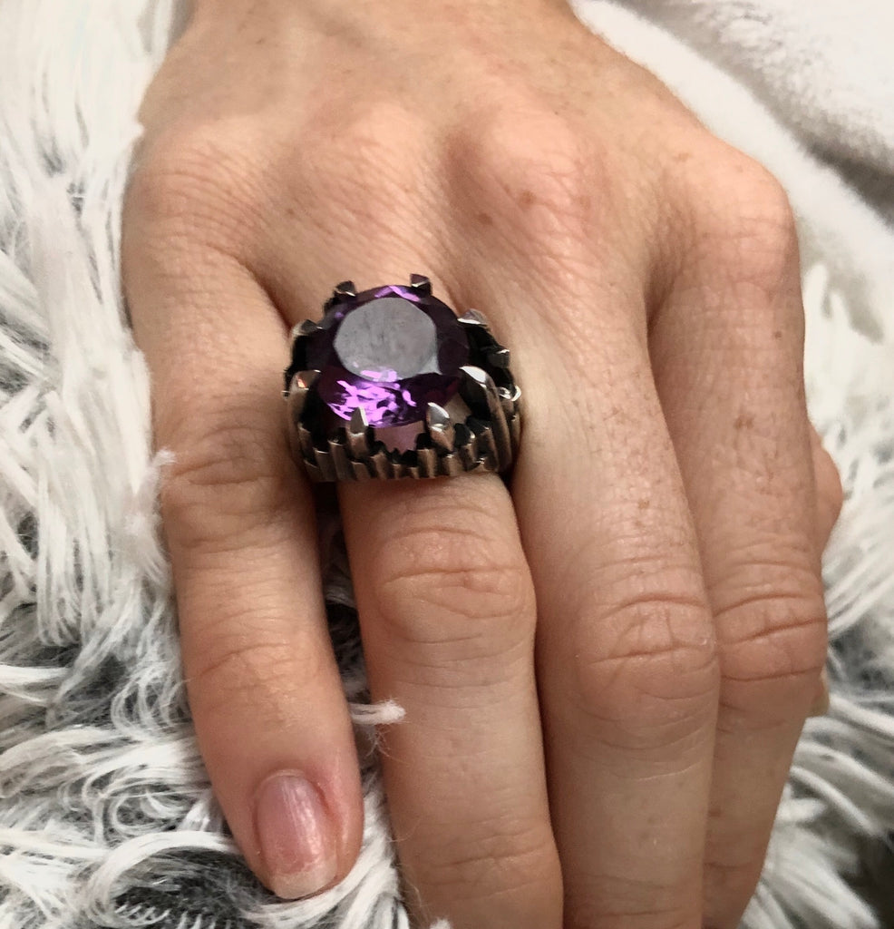 Deep Purple Amethyst Icicle Ring