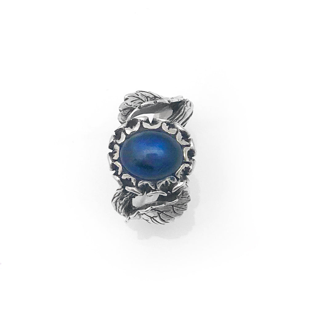 Dark Blue Labradorite Flower Ring