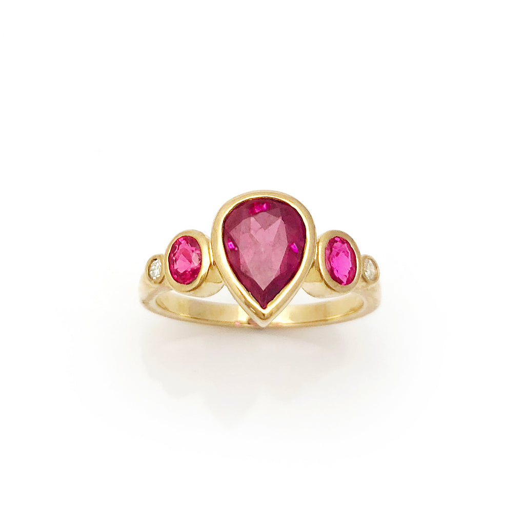 Dark Wine Pink Spinel Teardrop with Hot Pink Rubies and Diamonds set in 9 carat Yellow Gold