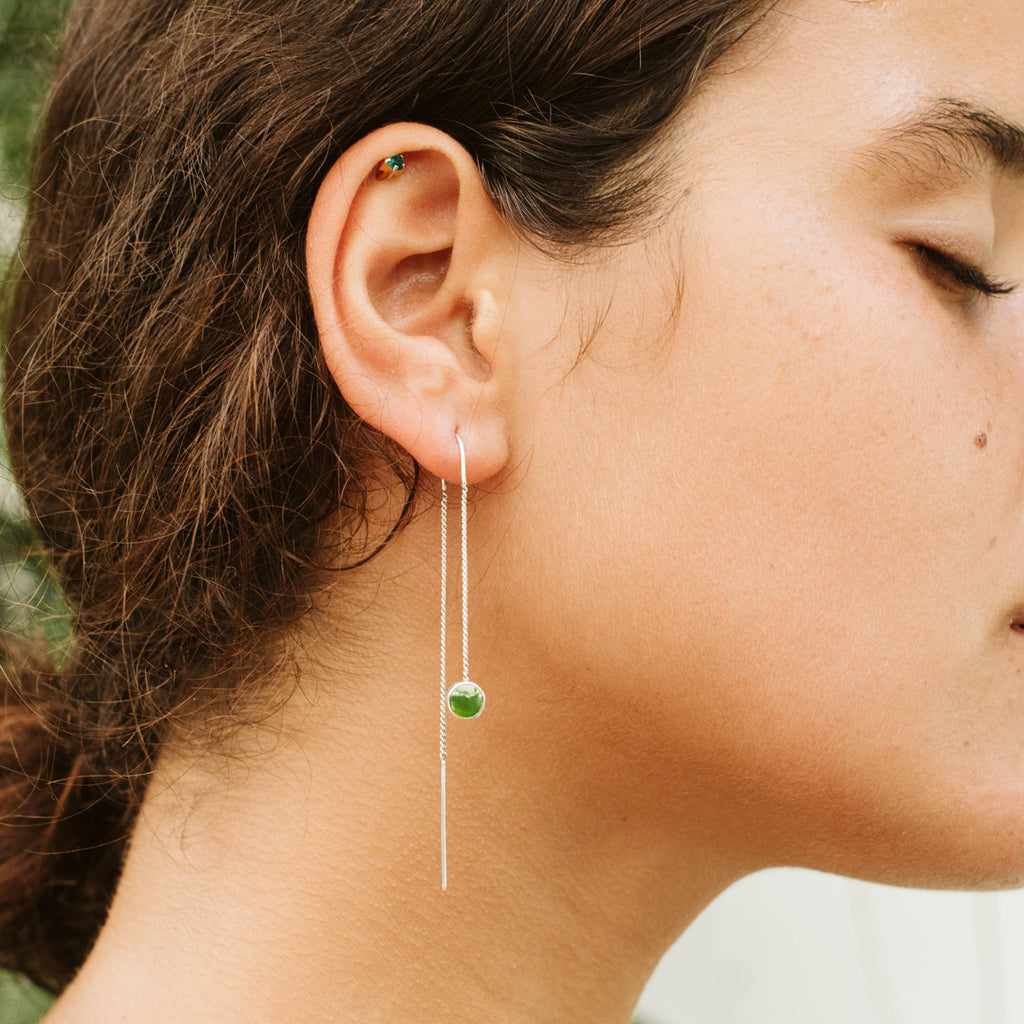Pounamu Dot Chain Earrings