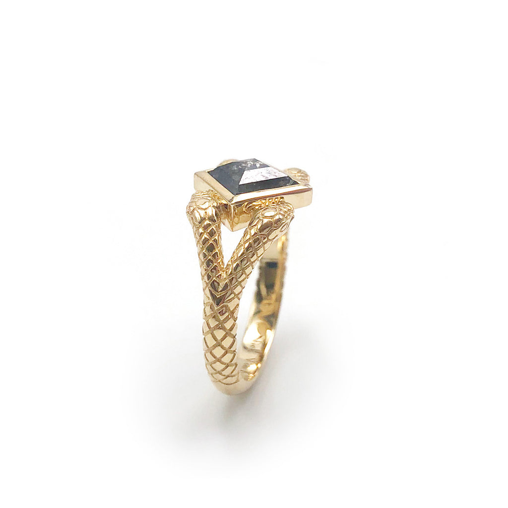 Double Headed Snake Ring with Geometric Salt and Pepper Diamond set in 9 carat Yellow Gold