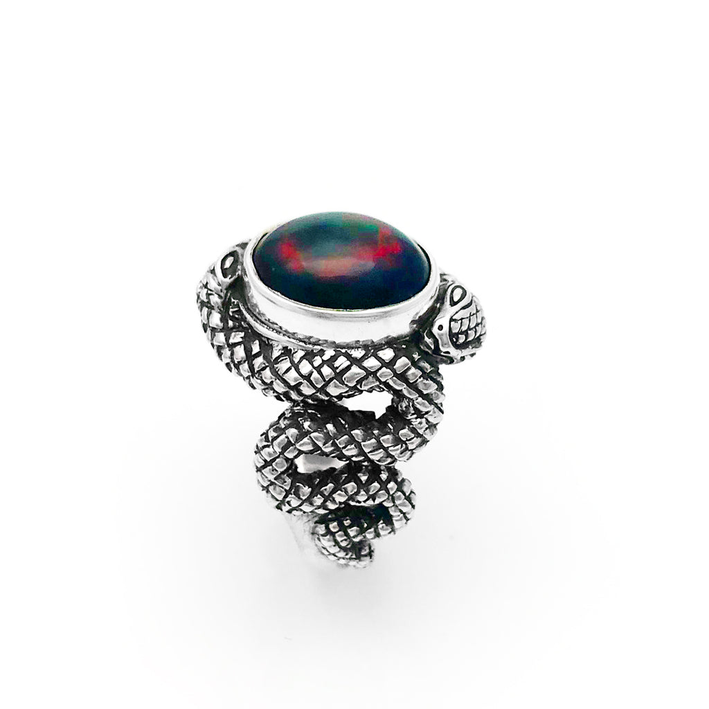 Double Snake Black And Red Opal Ring