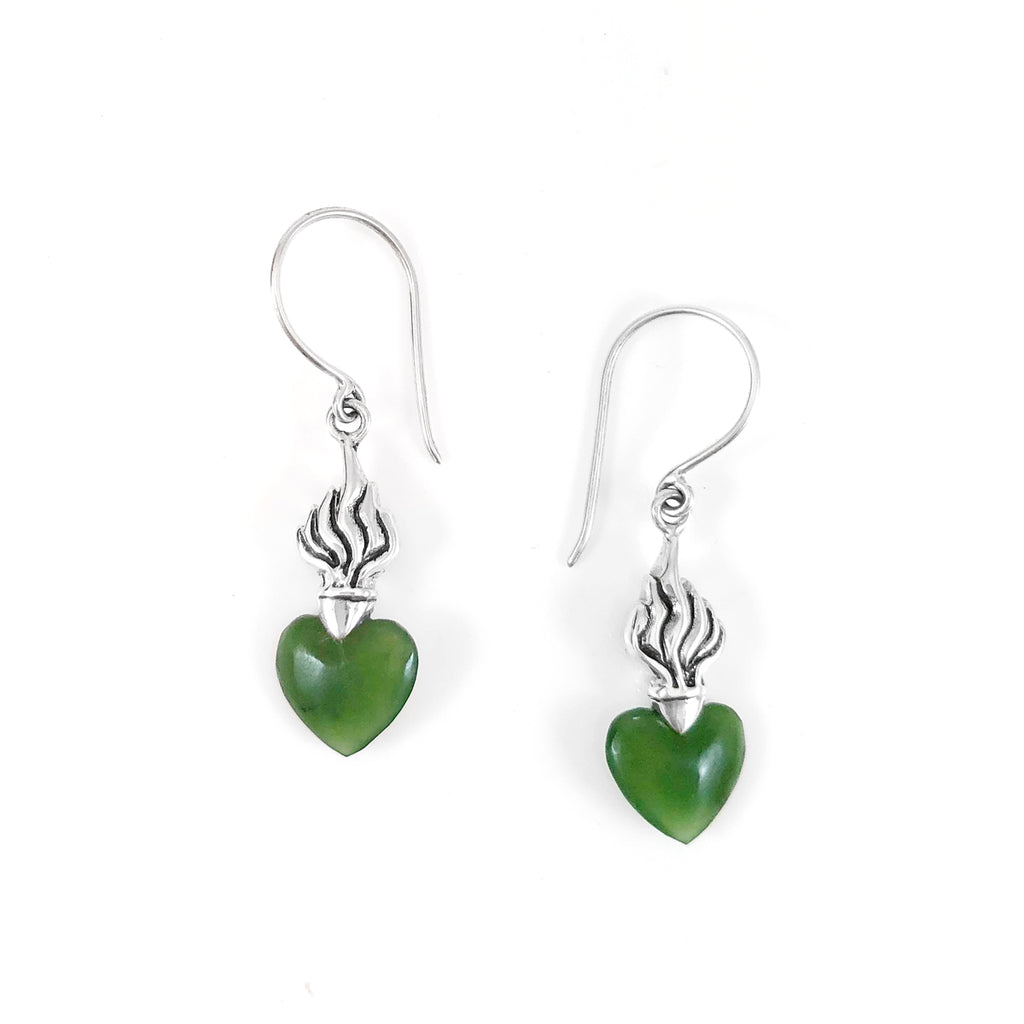 Pounamu Flaming Heart Earrings