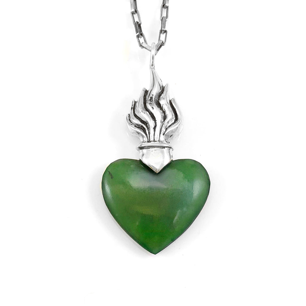 Pounamu Flaming Heart Pendant
