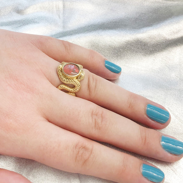 Bright Neon Red Opal Double Snake Ring in 9 carat Yellow Gold