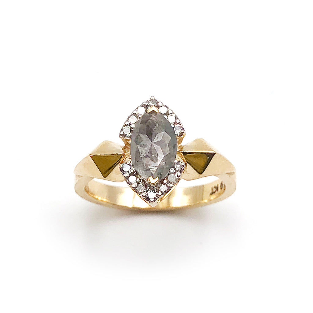Hyperspace Ring with Dark Cloud Diamond in 9 carat Yellow Gold