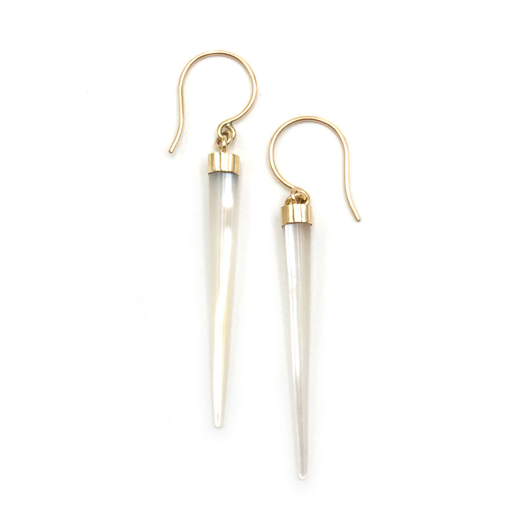 14 carat Gold Mother of Pearl Icicle Earrings