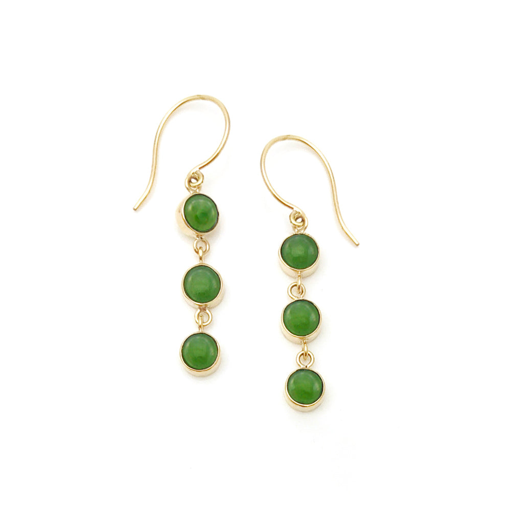14 carat Gold Pounamu 3 Muses Earrings
