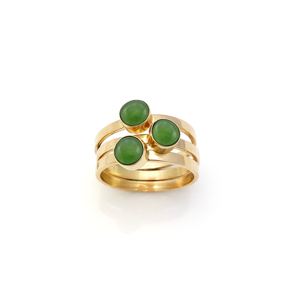 14 carat Gold Pounamu 3 Muses ring