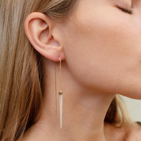 14 carat Gold Mother of Pearl Slipstream Earrings