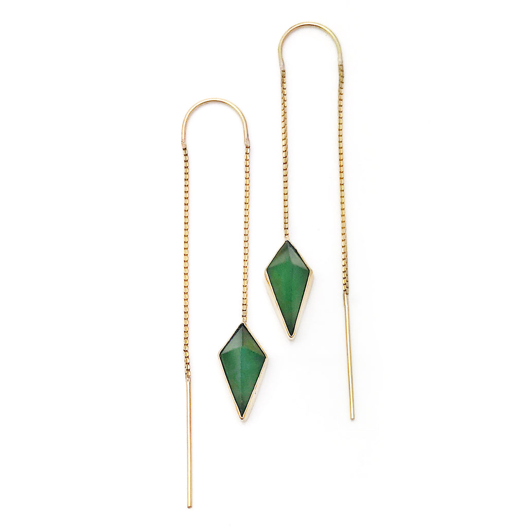 14 carat Gold Pounamu Pinnacle Chain Earrings