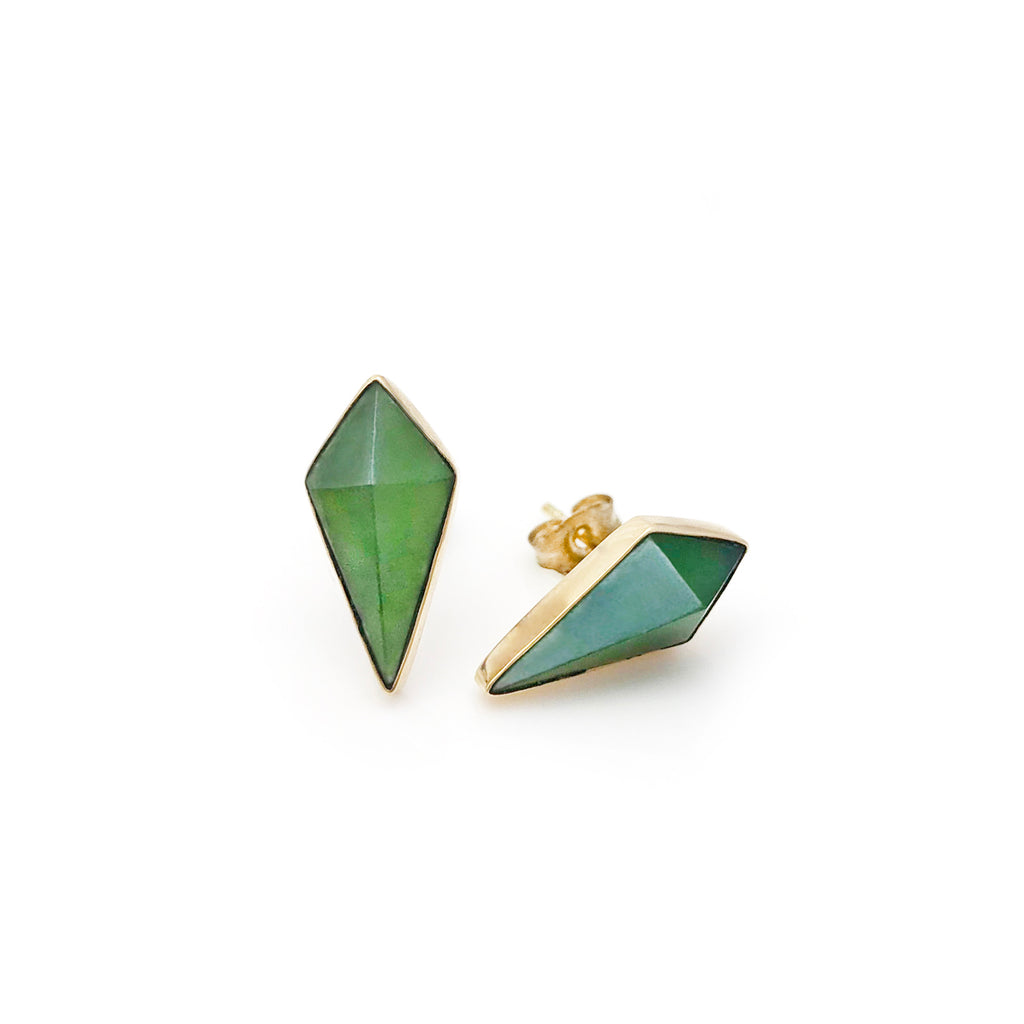 14 carat Gold Pounamu Pinnacle Studs