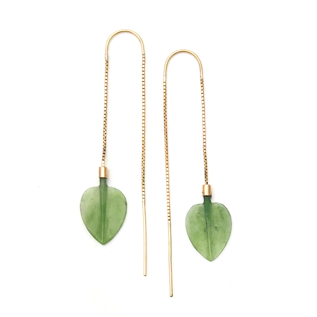 14 carat Gold Pounamu Leaf Chain Earrings