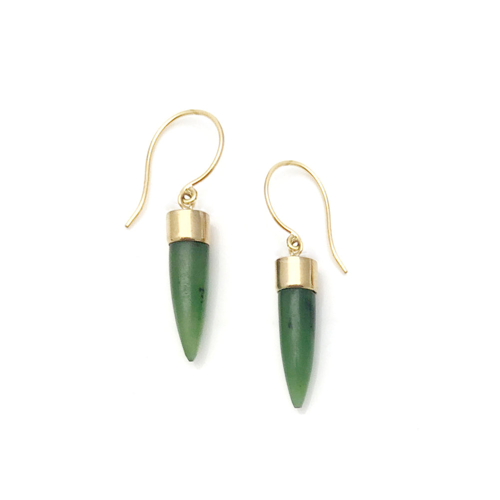 14 carat Gold Pounamu Point Earrings