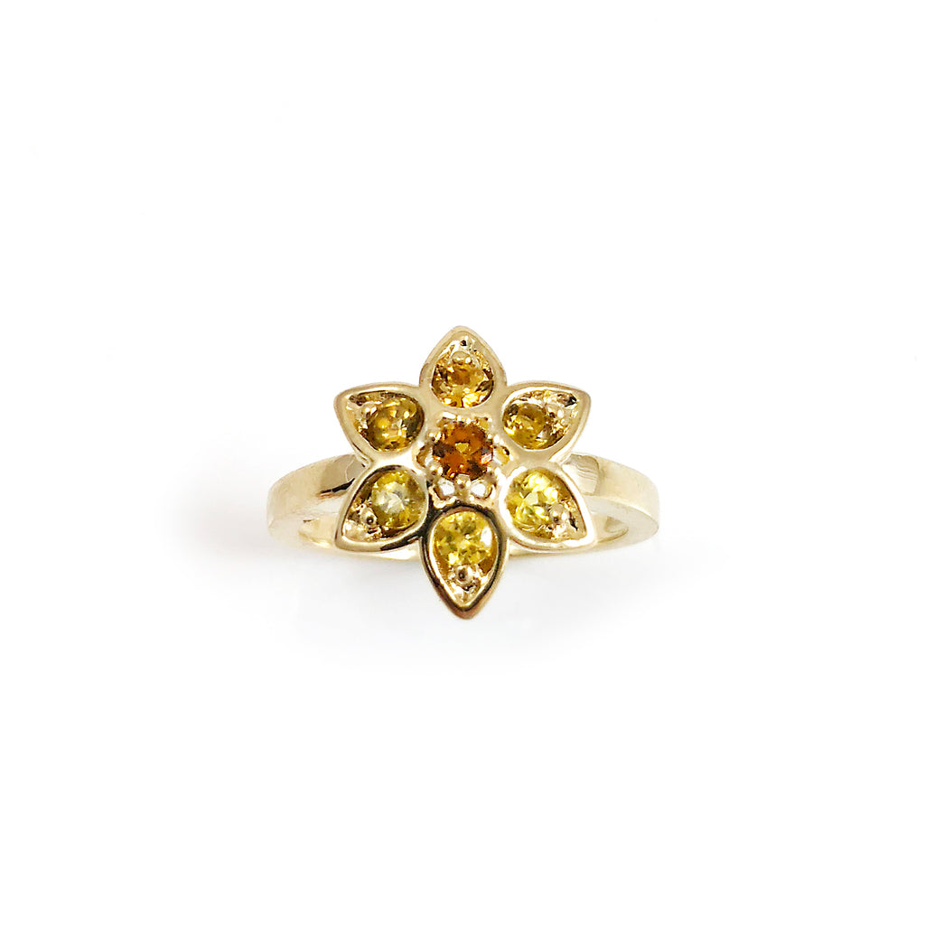 Golden Yellow Tourmaline Star Tulip ring in 9 carat Yellow Gold