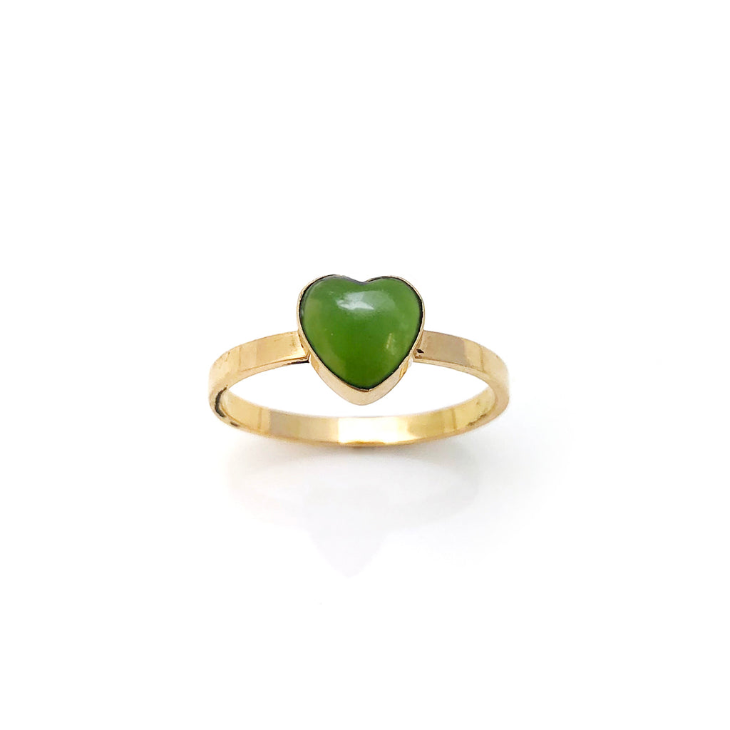 14 carat Gold Pounamu Heart ring