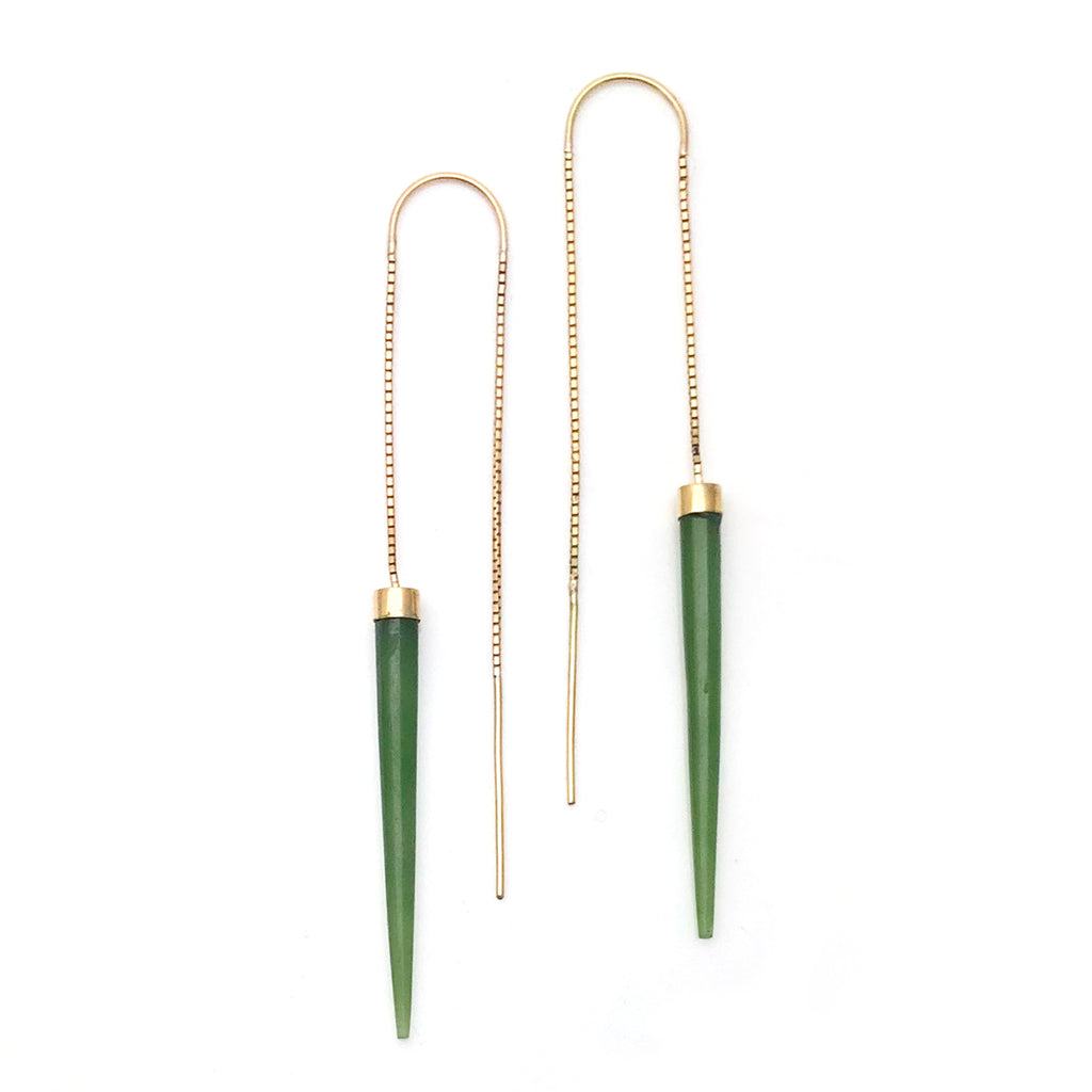 14 carat Gold Pounamu Slipstream Earrings