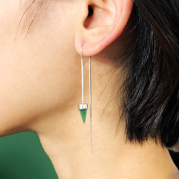 Pounamu Tiny Point Chain Earrings