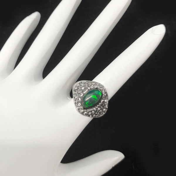 Brilliant Black Green Opal Flower Garden Ring