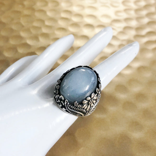 Grey Moonstone Flower Ring
