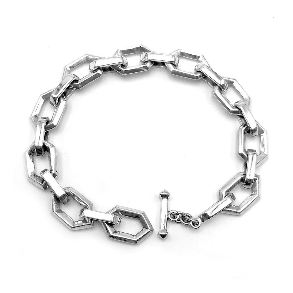 Medium Sterling Silver Hex Bracelet