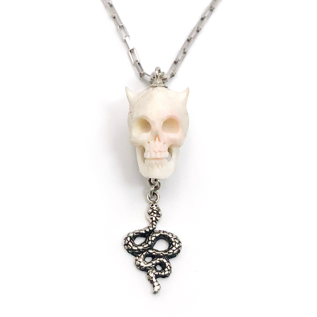 Horned Skull and Snake Pendant