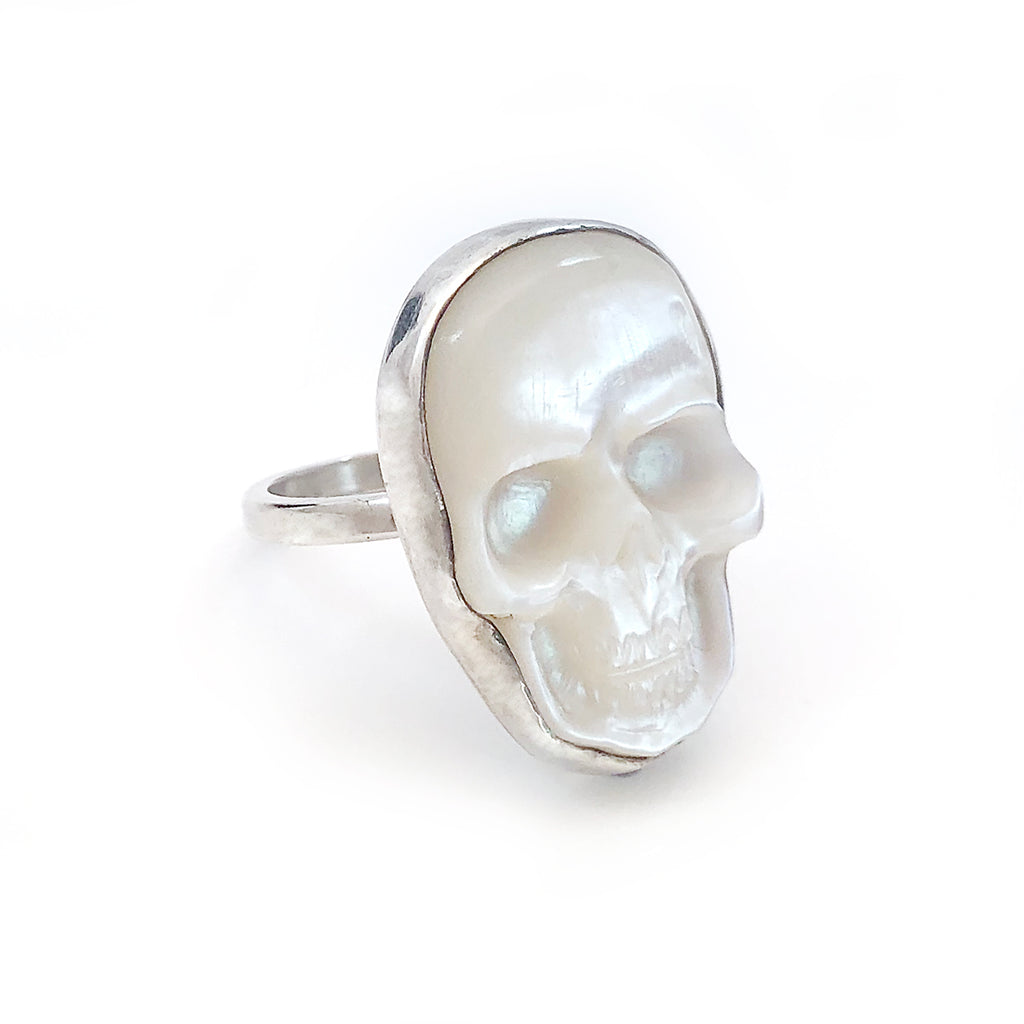 Large Mother of Pearl Skull Ring