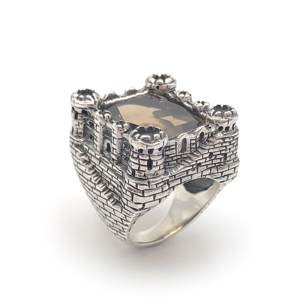 Epic Castle Ring with faceted Smokey Quartz