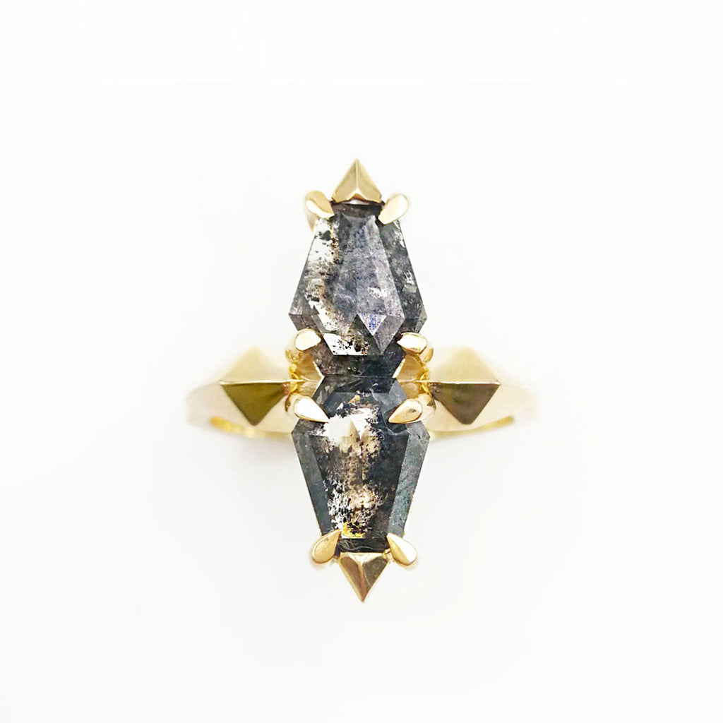 Epic Double Coffin Ring set with twin geometric Salt and Pepper Diamonds in 9 carat Yellow Gold
