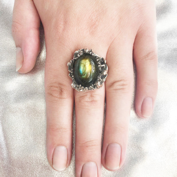 Gold, Green and Blue Labradorite Froggy Ring