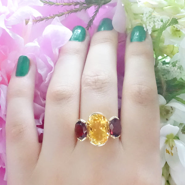 Large Citrine with 2 Blood Red Tourmalines set in 9 carat Yellow Gold